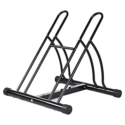 Fahrradständer Boden, Fahrradständer Mountainbike, Fahrrad Ständer für 2 Fahrräder 35-65 mm Reifenbreite, Mehrfachständer Fahrrad Aufstellständer Radständer, Bodenständer Fahrrad Bodenparker, schwarz