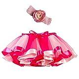 Mädchen Kinder Tutu Rock, zweiteiliges Set Party Tanz Ballett Kleinkind Baby Regenbogen Kostüm Rock + Stirnband Set Karneval Ostern (2Y-11Y)(Rosa,M)