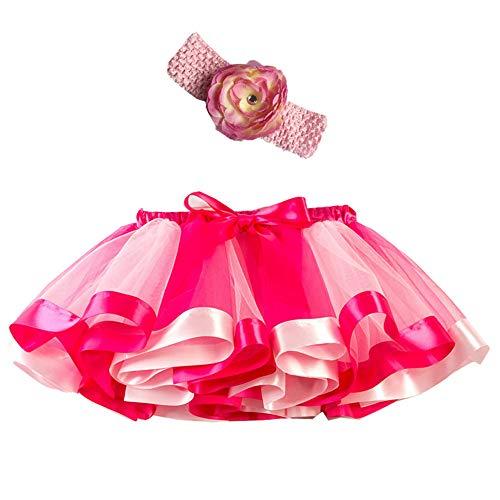 Mädchen Kinder Tutu Rock, zweiteiliges Set Party Tanz Ballett Kleinkind Baby Regenbogen Kostüm Rock + Stirnband Set Karneval Ostern (2Y-11Y)(Rosa,S)