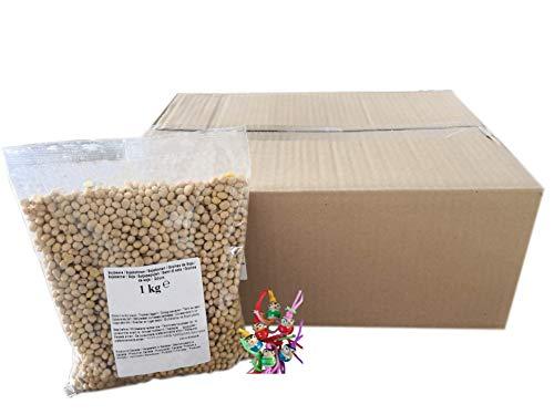 yoaxia ® - 12er Pack - Sojabohnen [ 12 x 1kg ] Grundlage für viele Gerichte in der vegetarischen Küche + ein kleines Glückspüppchen - Holzpüppchen