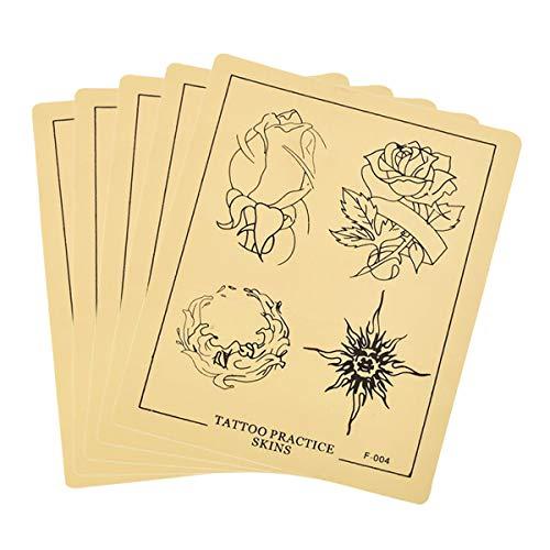 SUPVOX Tattoo Haut Silikon Rosa Blume Muster Doppelseitige Übunghaut für Anfänger Tattoo Körperkunst 5 Stück
