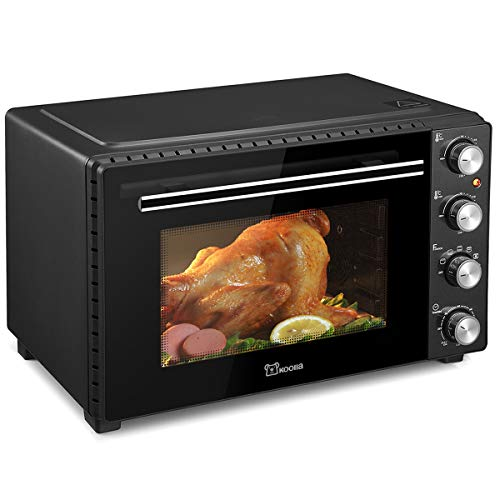 Koolla K3504 Toaster Oven 6 slice 35L Electric Oven Large Size Oven Double Glass Door Removable Crumb Tray Interior Lighting 3D Recirculation 1700 Watts Black