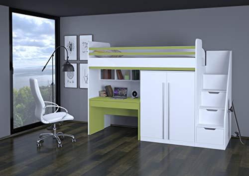 Polini City Hochbett mit Matratze Treppe Schrank und Tisch weiß grün