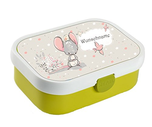 wolga-kreativ Brotdose Lunchbox Bento Box Kinder süßer Maus mit Namen Rosti Mepal Obsteinsatz für Mädchen Jungen personalisiert Brotbüchse Brotdosen Kindergarten Schule Schultüte füllen