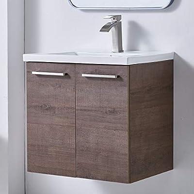 "Mogiyin Modern 24"" Brown Wall-Mounted Bathroom Vanity, Simple Design 2-Door 2 Handles Bathroom Sink Cabinet Vanities Combo Set with White Integrated Undermount Ceramic Vessel Sink"