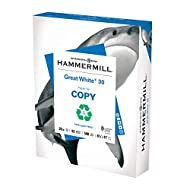 Hammermill Printer Paper, Great White 30% Recycled Paper, 8.5 x 11-1 Ream (500 Sheets) - 92 Bright, Made in the USA, 086710