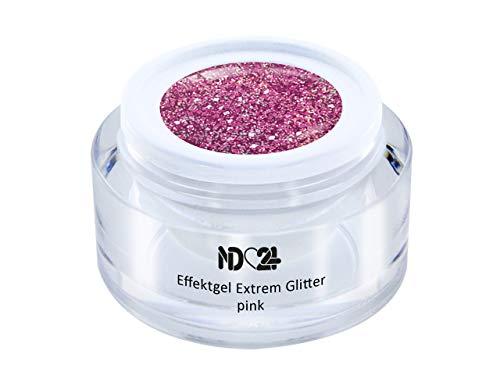 Uv Led Effekt-Gel Extrem Glitter Pink - Rosa - Studio Qualität - Made In Germany - 5ml