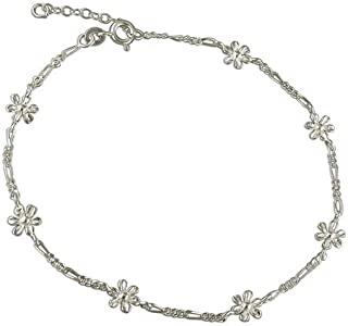 Sterling Silver Anklet 25cm/9.5in figaro and flowers (including adjuster)