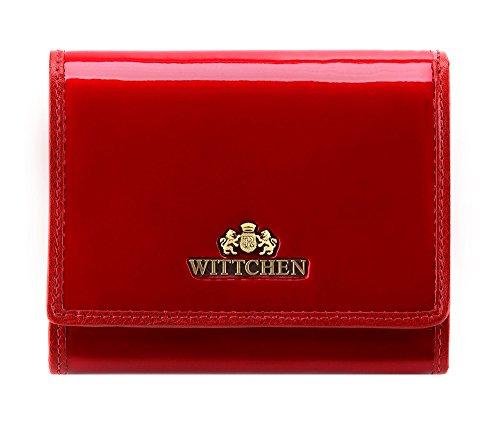 WITTCHEN Geldbörse aus Rindsleder | Kollektion: Verona | verschließt mit Druckknopf | aus hochwertigen Materialien | elegant und klassisch | Rot | 12x9.5 cm