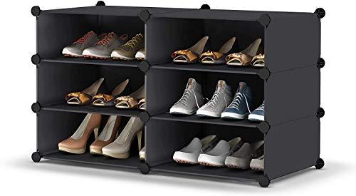 HOMIDEC Schuhregal, Schuhschrank, Kunststoff-Schuhregale, Organizer für Schrank, Flur, Schlafzimmer, Eingangsbereich (2 x 3)