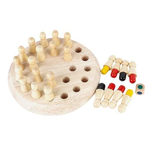 MZH Wooden Memory Match Schachstock Game-Kid Adult Intelligence IQ Brain Teaser Spiel Denken Praktische Fähigkeit Lernspielzeug (17,5 & mal; 17,5 & mal; 5,5 cm)
