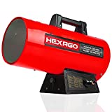 HEXAGO 85,000 BTU Adjustable Portable Liquid Propane Gas Forced Air Heater, Height Adjustable, CSA Listed, Red, Heating up to 2,125 sqft