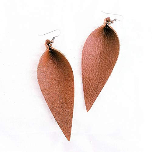 Genuine Leather Earrings/Brown/Long Leaf Earrings/Feather Earrings/Large Earrings/Statement Earrings/Leather Jewelry/Boho/Joanna Gaines Style