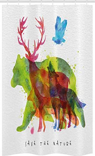 ABAKUHAUS Tier Schmaler Duschvorhang, Alaska Tiere Bär Wolf, Badezimmer Deko Set aus Stoff mit Haken, 120 x 180 cm, Grün Magenta
