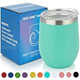 PURECUP Stainless Steel Insulated Wine Tumbler With Lid,12 oz,Double Wall Vacuum Insulated Cup,For Champaign,Cocktail,Beer,Coffee,Drinks,BPA Free (12 oz 1 pc, Aqua Blue)