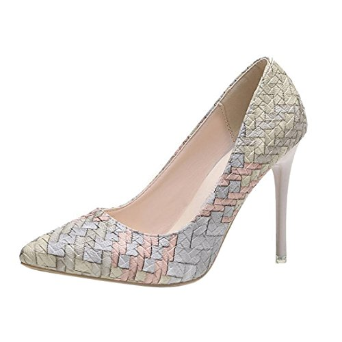 Liquidación! Tacones de mujer Covermason Moda tacones finos Zapatos colores mezclados Tacones bajos Zapatos(36 EU, Beige)