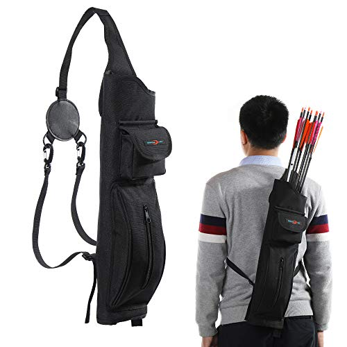TOPARCHERY Archery Back Canvas Arrow Quiver Arrow Holder Shoulder Hanged Target Shooting Quiver for Arrows with Front Pockets