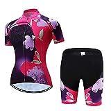 HXTSWGS Maillot de Ciclismo para Mujer de Secado rápido, Conjunto de Ropa para Deportes al Aire Libre, Camiseta y Pantalones Cortos para el Verano-2_M