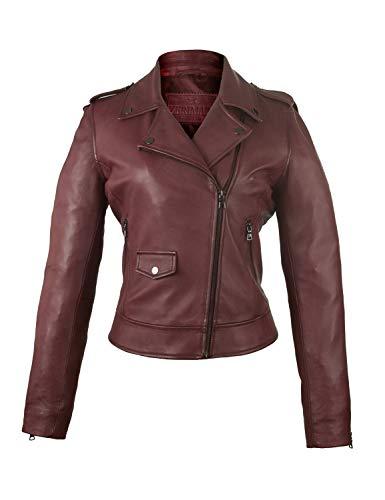 Zerimar Jacke Mantel Leder Damen | Casual Leder Winterjacke | Elegante Lederjacke | Jacken Damen | Damen Lederjacke | Farbe: Bordeaux Größe XXL