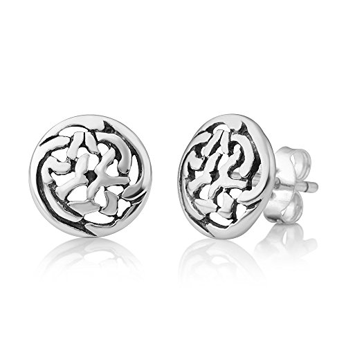 925 Oxidized Sterling Silver Tiny Round Celtic Knot Open Post Stud Earrings 8 mm, Unisex Jewelry