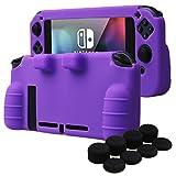 YoRHa IMPUGNATURA Cassa pelle copertura silicone skin cover Custodia per Nintendo Switch x 1 (viola) Con Joy-Con presa del pollice thumb grips x 8