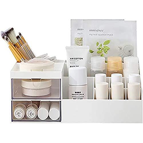 Zumbo - Organizador de cosméticos y productos de cuidado de la piel (cuadrado), color blanco