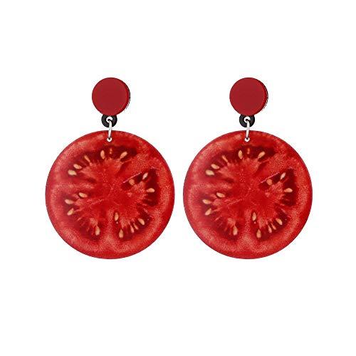 TrifyCore Divertente Frutta ciondola Orecchini di Goccia Creativo Lifelike Pomodoro Forma Frutta Orecchini per Donne delle Ragazze