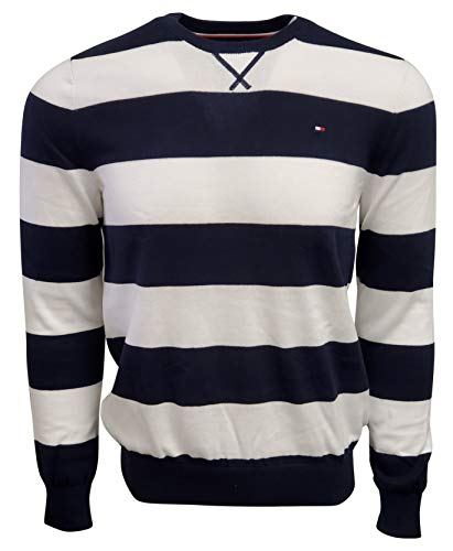 Tommy Hilfiger Men's Striped Crew-Neck Sweater (Small, Navy/White)
