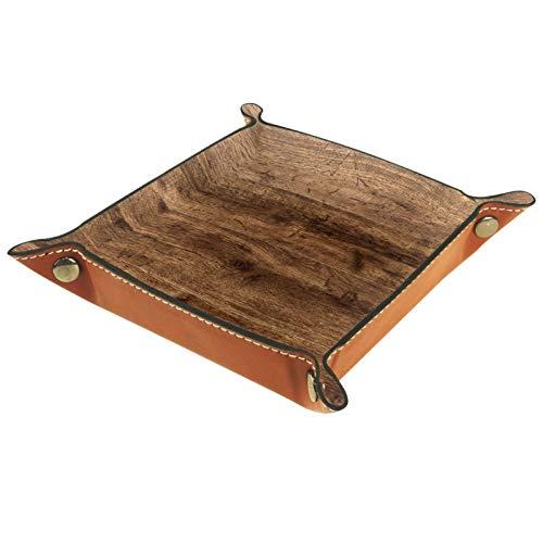 MUMIMI Caja de almacenamiento de joyería para anillos, pendientes, joyería y anillos, fondo de madera vieja