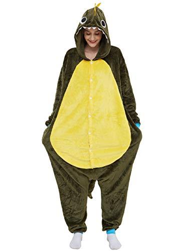 Jumpsuit Onesie Tier Karton Fasching Halloween Kostüm Sleepsuit Cosplay Overall Pyjama Schlafanzug Erwachsene Unisex Lounge Grün Kleiner Stacheliger Drache