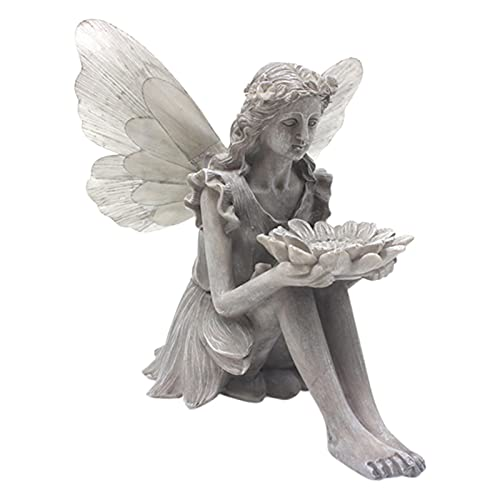 Estatua De Comedero Para Pájaros De Jardín,Sunflower Fairy Statue Bird Feeder,figura Decorativa,Fairy Statue Garden Arte Alimentador,Escultura De Hadas De Ángel Decorativo Para Interiores Y Exteriores