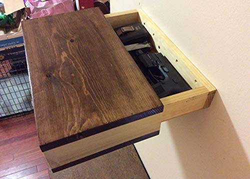 Rustic wood floating shelf with hidden compartment wood wall shelf