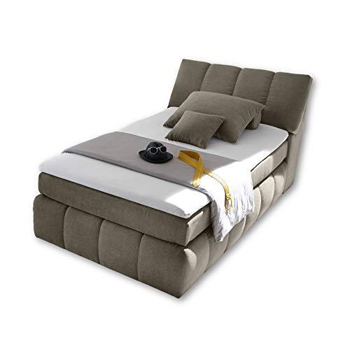 TOLEDO 1 Boxspringbett 120x200 mit Bettkasten, Schlamm - Bequemes Bett mit Bonell Matratze H2-H3 & Komfortschaum Topper - 121 x 110 x 235 cm (B/H/T)