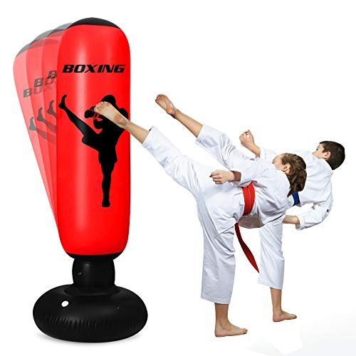 WHIRLGEE Freestanding Boxing Bag,63Inch Punching Bag for Kids Inflatable & Portable for Home Fitness Taekwondo Training Equipment
