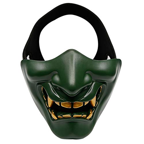 babyHUIH Half Face Mask Cosplay Kabuki Samurai Devil Halloween Party Festival Costume Party and Movie Prop Horror Face