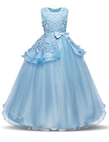 NNJXD Madchen Armellos Stickerei Prinzessin Festzug Kleider Abschlussball Ballkleid, Blau, 13-14...
