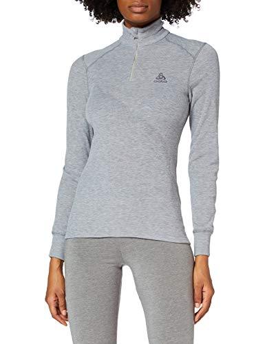 Odlo BL Top Turtle Neck L/S Half Zip Active Warm Longsleeves Femme Grey Mélange FR: L (Taille Fabricant: L)