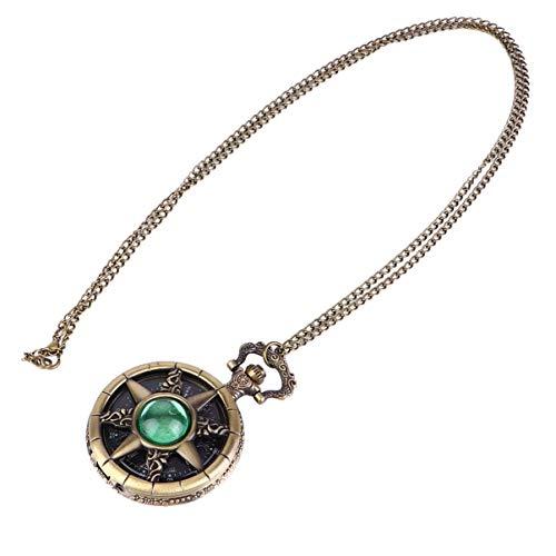 Amosfun Reloj de bolsillo vintage con forma de timón, piedra natal, números romanos, escala de cuarzo, reloj de...