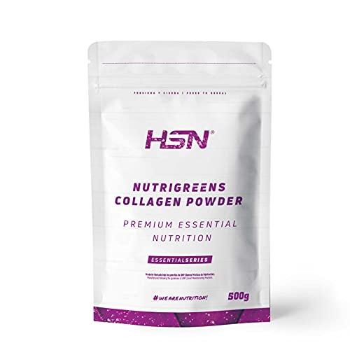 Nutrigreens Colágeno de HSN | Greens con Colágeno Hidrolizado | Extractos Herbales 100% Natural | Con Probióticos y Enzimas Digestivas | Edulcorado con Stevia | No-GMO, Sin Gluten ni Lactosa | 500 gr