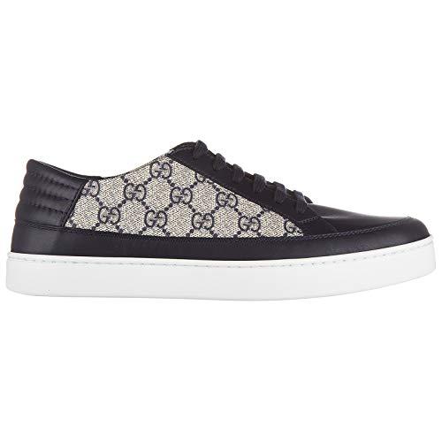 Gucci scarpe sneakers uomo in pelle nuove gg supreme blu