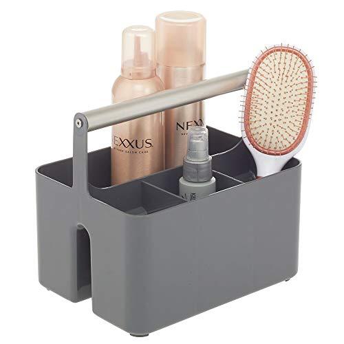 mDesign Caja organizadora para cuarto de baño – Práctica cesta con asa para el almacenamiento de cosméticos – Organizador de baño portátil con 4 compartimentos – gris oscuro/plateado mate