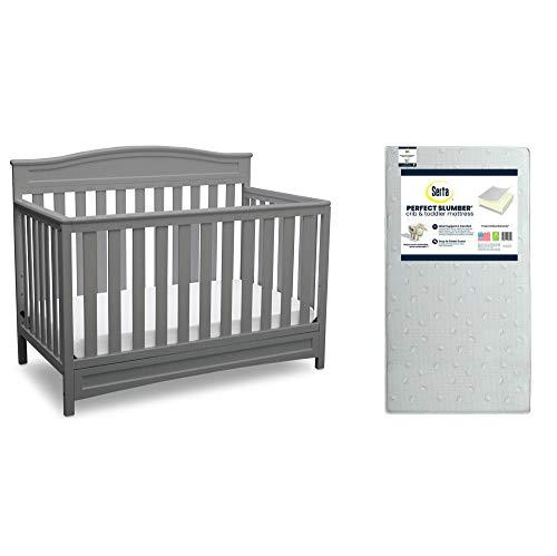 Delta Children Emery 4in1 Convertible Crib Grey  Serta Perfect Slumber Dual Sided Recycled Fiber Core Crib and Toddler Mattress Bundle