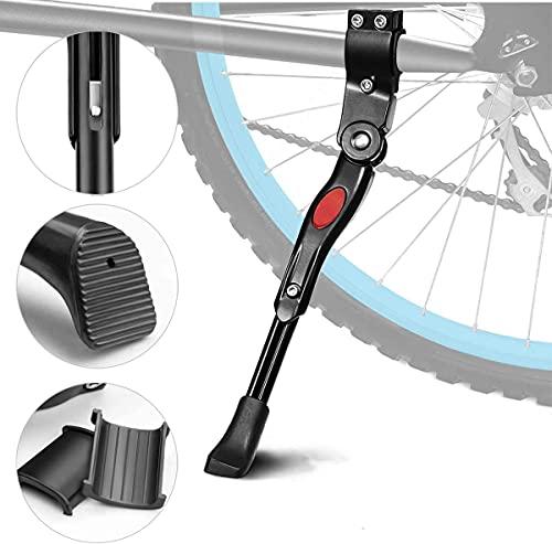 AIlysa Cavalletto per Bici, Cavalletto Regolabile in Lega di Alluminio, con Il Piedino di Gomma Antiscivolo Bike Stand, per Mountain Bike, Bici da Strada, Biciclette, MTB Bici 16-26'' (Nero)