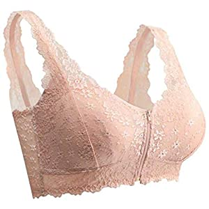 UULIKE Women's Lace Wire Free Adjustable Bra Sexy Large Size Front Closure Extra-Elastic Breathable Underwear Ladies Lingerie Everyday Comfort Pure Color Pyjamas with Zipper Beige