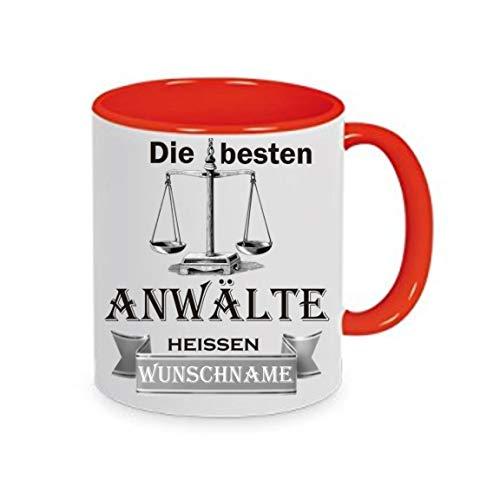 Crealuxe Tasse m. Wunschname Die besten Anwälte heißen (Wunschname) - Kaffeetasse mit Motiv, Bedruckte Tasse mit Sprüchen oder Bildern