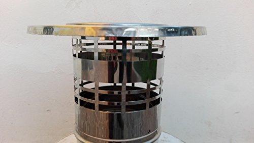 Regenhaube, Schornsteinabdeckung, Schornsteinaufsatz, Edelstahl Kaminaufsatz (130mm))