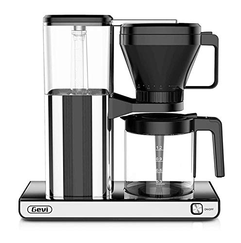 10-Cup Coffee Maker with Warming plate and Auto-off function,Drip Coffee Machine with 1.25L/42oz Clear Water Reservoir, Removable Filter, Anti-Dry Burning Function, Sliver, 1450W