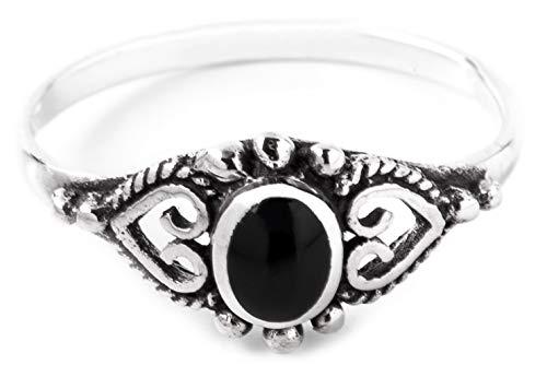 WINDALF Mittelalter Ring MELINA h: 0.8 cm Onyx Hochwertiges Silber (Silber, 52 (16.6))