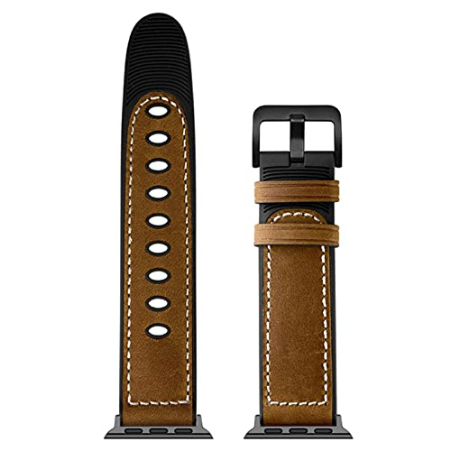 Leather+Silicone Watch Strap for iWatch Series SE/6/5/4/3/2/1, Wrist Watch Band for Apple Watch-Dark Brown,38MM or 40MM