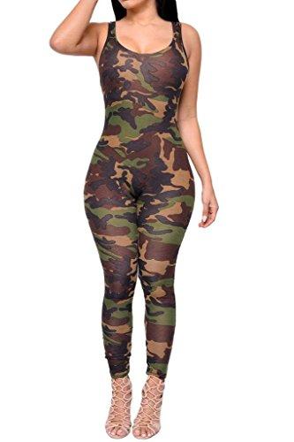 YiyiLai Sommer Herbst Damen Hosenanzug Einheiter Jumpsuit Hosenanzug Overall Pullover Pulli Shirts T-Shirt Tarnkleidung Braun-grün XL